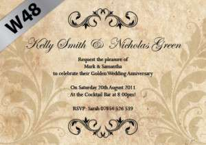Personalised Wedding Anniversary Invitations 25th 50th