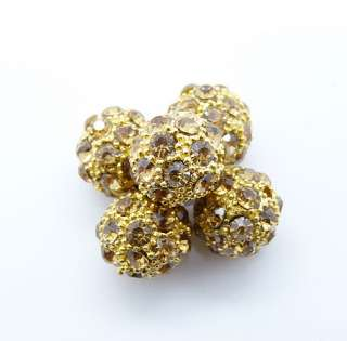 5pc 10mm DIY CZ Pave Disco Ball Crystal Rhinestone Loose Spacer Beads