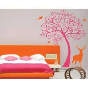 Nursery Swirl Tree with Deer and Birds Kids Baby Wall Vinyl Decal BIG