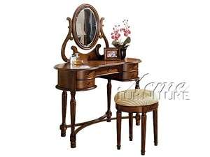 Oak/Cream 2 pc Victorian Vanity Table Set AC06825 06826