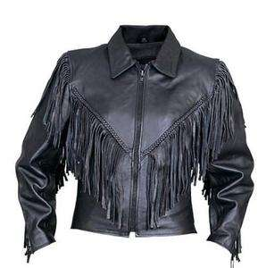 Womens Biker Leather Motorcycle Jacket   Fringed Split Cowhide  Price