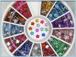 12 Colors Flower Rhinestones Nail Art Glitter #080