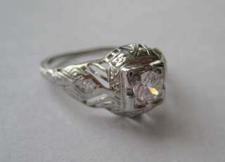 ANTIQUE ESTATE 18K WHITE GOLD DIAMOND RING VICTORIAN