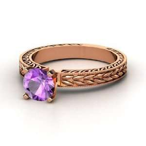 Charlotte Ring, Round Amethyst 14K Rose Gold Ring Jewelry