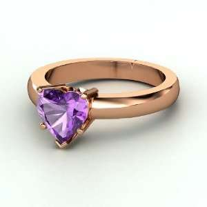 One Heart Ring, Heart Amethyst 14K Rose Gold Ring Jewelry