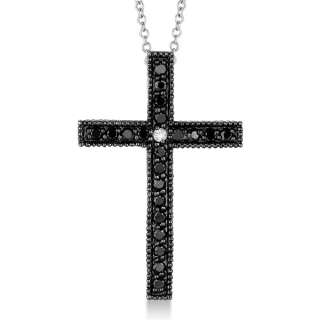 White Diamond Cross Pendant Necklace 14k White Gold Womens G H