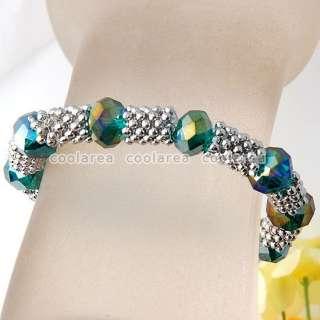 1X Crystal Glass Beads Pave Woven Stretch Bracelet 7 9/Color Flower