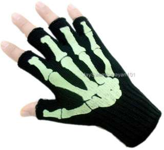 Skeleton Fingerless Gloves Work Glow in Dark Black Emo