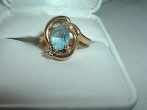 VINTAGE ANTIQUE GOLD PLATED AQUA MARINE RING, SZ 6