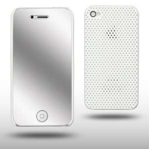 IPHONE 4G WHITE PERFORATED CASE WITH MIRROR SCREEN