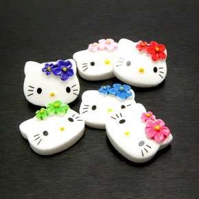 B0927 (25pcs) Mix Hello Kitty 19MM Face Flower Resin Flatback