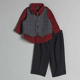 Newborn Boys Dress Shirt, Check Tie, Glen Plaid Vest Pantset  Dockers