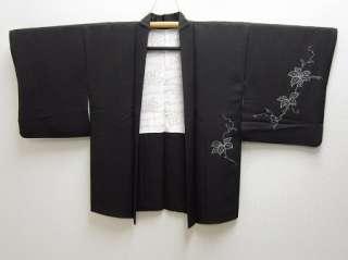 Japanese Kimono Haori Black Grape Silk Mix 07a0149