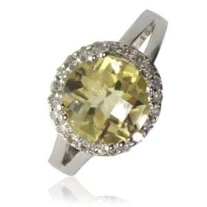 Natural White Round Diamonds (SI Clarity, GH Color) and Lemon Topaz