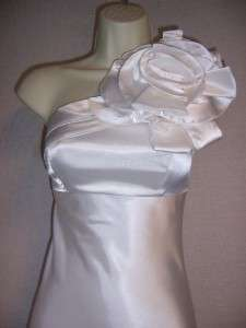 Ivory Satin One Shoulder Wedding Formal Gown Long Dress 2 NWT