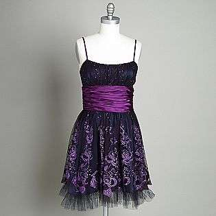 Womens Glitter Flocked Party Dress  Morgan & Company Clothing Juniors