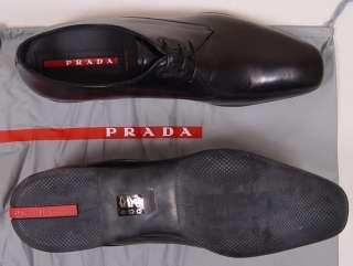 PRADA SPORT SHOES $545 BLACK ICONIC LOGO SOLE LACE UP SMART CALF 11