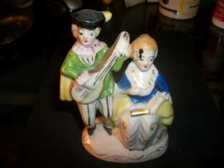 MAN AND WOMEN PLAYING INSTRUMENT OCCUPIED JAPAN FIGURINE 5 X 3.5 NICE