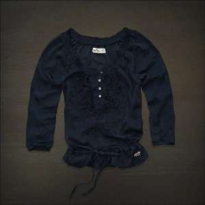 NWT Abercrombie & Fitch Hollister Women Blouse Shirt Chiffon Top XS S