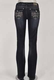 La Idol Designer Lady Miss Rhinestone Cross Boot Cut Ladies Jeans 4 Me