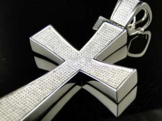 MENS EXTRA LARGE WHITE GOLD FINISH 4 INCH DIAMOND CROSS PENDANT 2 CT