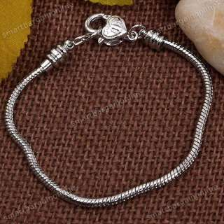 5pc White Gold Plated Snake Chain Lobster Clasp Bracelet Fit Charm