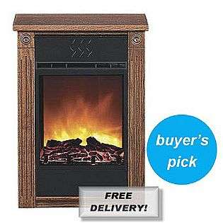Accent Electric Fireplace with Amish made Wood Mantle   Dark Oak  Heat