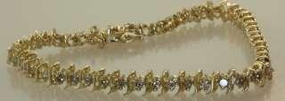 10k yellow gold 1.5 diamond tennis bracelet estate 8.4g