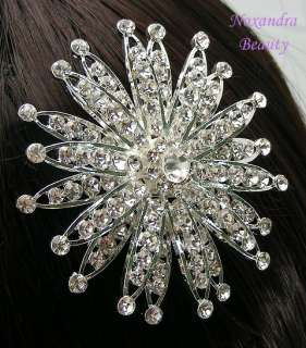 hair comb has austrian clear color rhinestones on silver plated metal