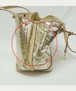 Michael Michael Kors Pale Gold Mirror Monogram Amagansett Tote Purse