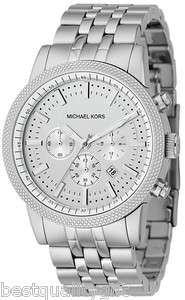 MICHAEL KORS SILVER TONE STAINLESS STEEL CHRONOGRAPH MEN WATCH MK8072