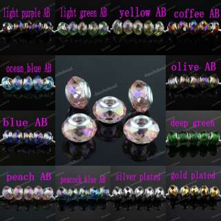 FACETED CRYSTAL GLASS EUROPEAN CHARM BEADS FINDINGS FIT BRACELETS 9X14