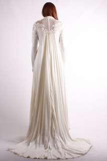 Vtg 70s Cream White Hippie Lace Mesh Pleated FISHTAIL Wedding gown