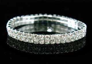Row Wedding Crystal Rhinestone Bangle Bracelet B902