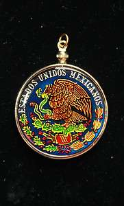 Hand Painted Mexican 100 Pesos Coin Pendant Jewelry