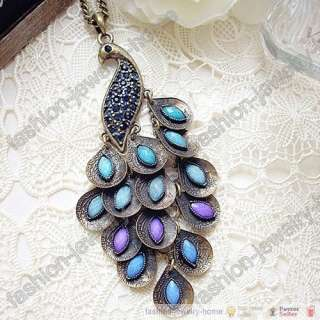 Fashion Retro bronze Peacock peafowl Necklace pendant crystal