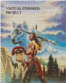 Native Wolf Cross Stitch Pattern Indian Tribe