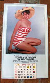 Vintage 1970 Pin Up Calendar Bathing Beauty Risque Ad