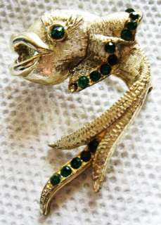 Vintage DODDS Rhinestone Open Mouth Fish Pin Brooch