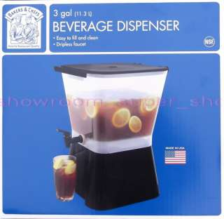 easy to fill and clean dripless faucet 3 gal beverage dispenser bpa