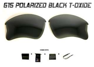 SE CUSTOM POLARIZED BLACK T OXIDE G15 LENSES OAKLEY FLAK JACKET XLJ