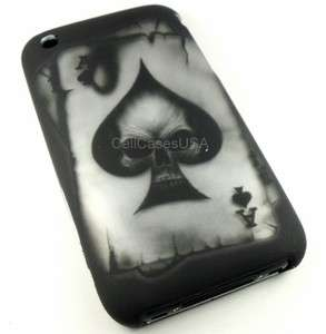 IPHONE 3G 3GS ACE SPADE SKULL BLACK HARD COVER CASE PHONE ACCESSORIES