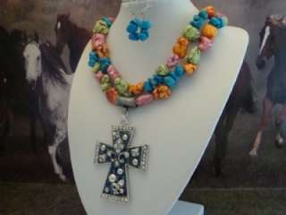 Western Rodeo Cowgirl Chunky Turquoise Necklace & Cross Pendant Set