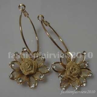 Swarovski Crystal Rose Flower Hoop Pierced Earrings 027