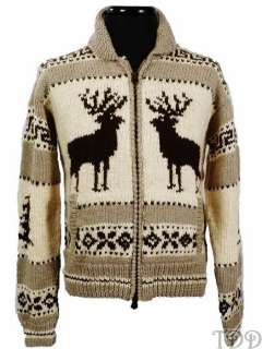 NWT 495 Polo Ralph Lauren Wool Moose Cardigan Sweater M