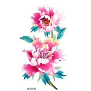 tattoo sticker hot selling colored flowers and enchanting peony