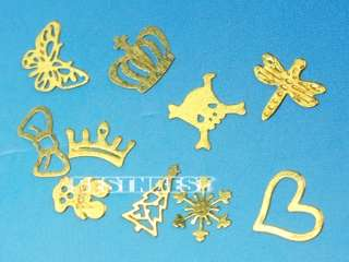 12 Shapes Nail Art Gold Metal Sticker DIY Design Wheel