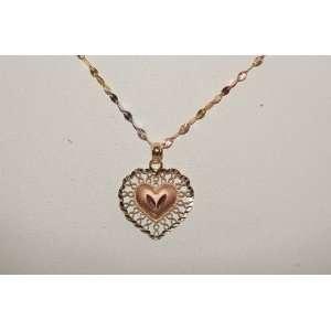 14k Yellow Gold Chain & Heart Pendant Tri Color Jewelry