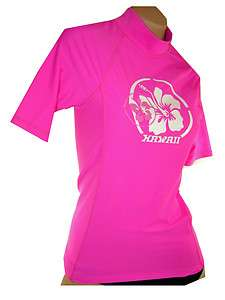 500w womens short sleeve quality pink swim shirt / rash guard S, M, L