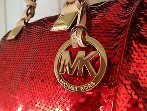 RARE Michael KORS Grayson Christmas RED SEQUIN Sparkle Satchel